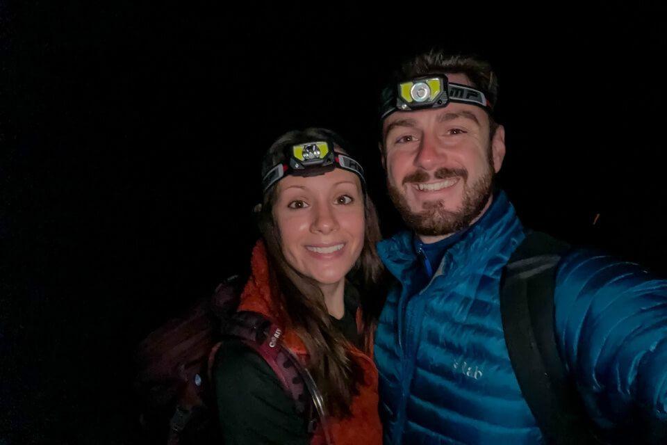 Where Are Those Morgans hiking the enchantments trail in Leavenworth washington before sunrise head torches at stuart lake trailhead