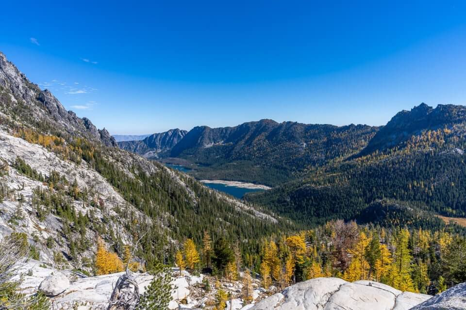 Snow Lakes in the distance from the edge of the enchantments core lower section stunning viewpoint