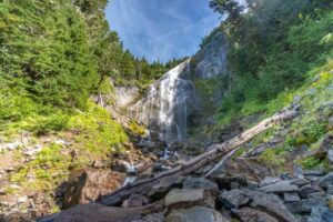 Spray Falls on the Spray Park Trail in Mt Rainier National Park excellent hike with meadows and waterfall